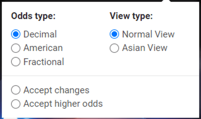 Cbet american, decimal and fractional odds, with normal and asian view